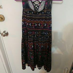 Aztec print short sleeveless dress